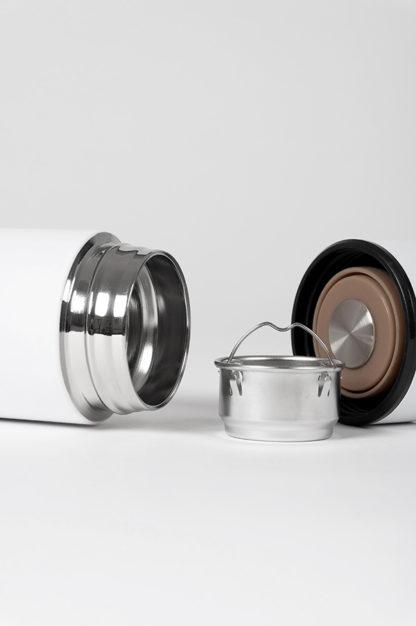 isolierflasche hot steel weiß mit teesieb