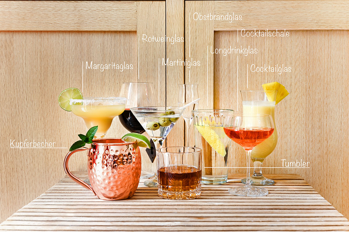 Cocktailglaeser Arten Graphik