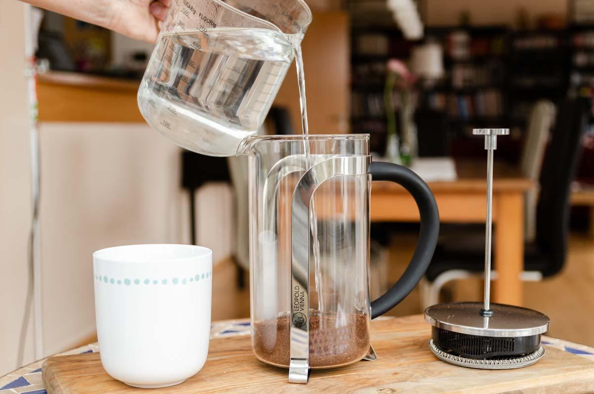 French Press Kaffee Zubereitung
